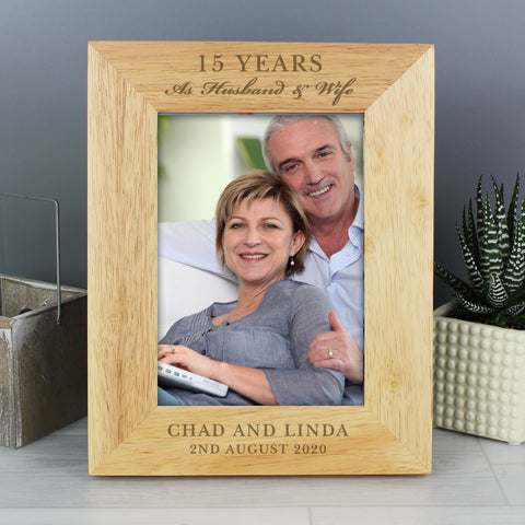 Personalised Anniversary 5x7 Wooden Portrait Photo Frame