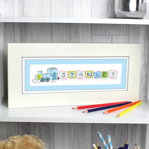 Buy Personalised Patchwork Train Name Frame