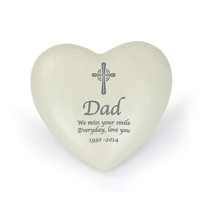 Personalised Cross Heart Memorial, Memorial Ceremony Supplies by Gifts24-7