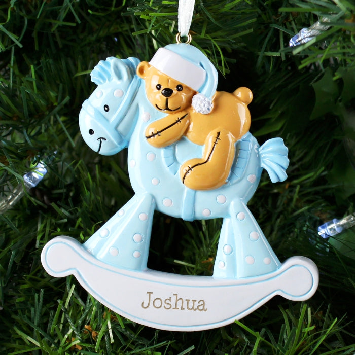 Buy Personalised Blue Rocking Horse Resin Decoration