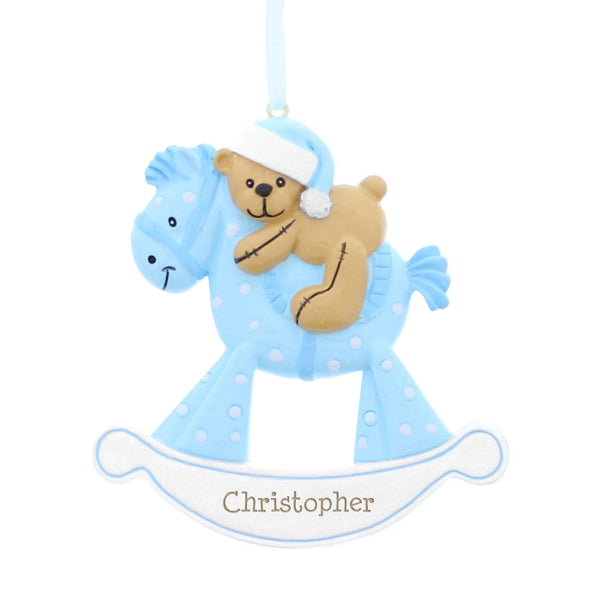 personalised-blue-rocking-horse-resin-decoration