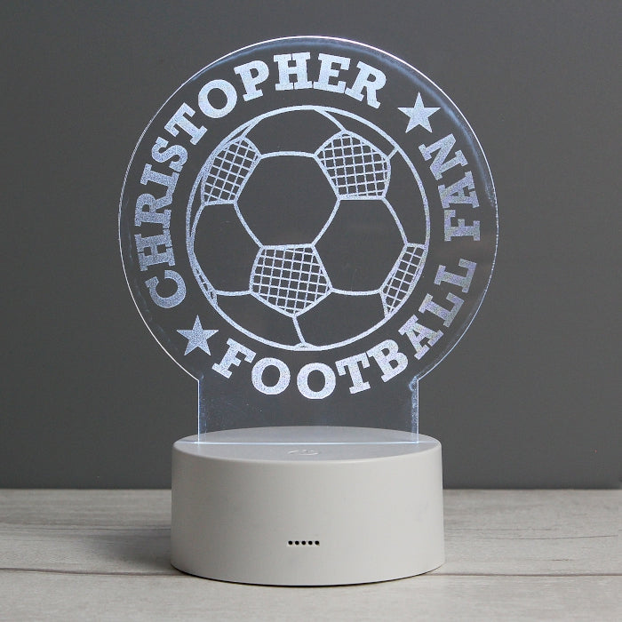 Personalised Football LED Colour Changing Desk Night Light, Lighting by Low Cost Gifts