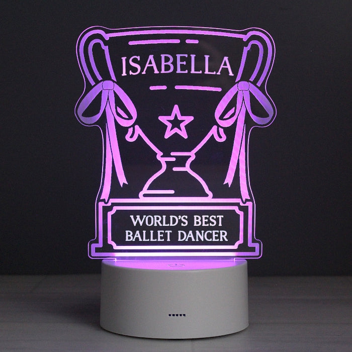Personalised Trophy LED Colour Changing Night Light, Lighting by Low Cost Gifts