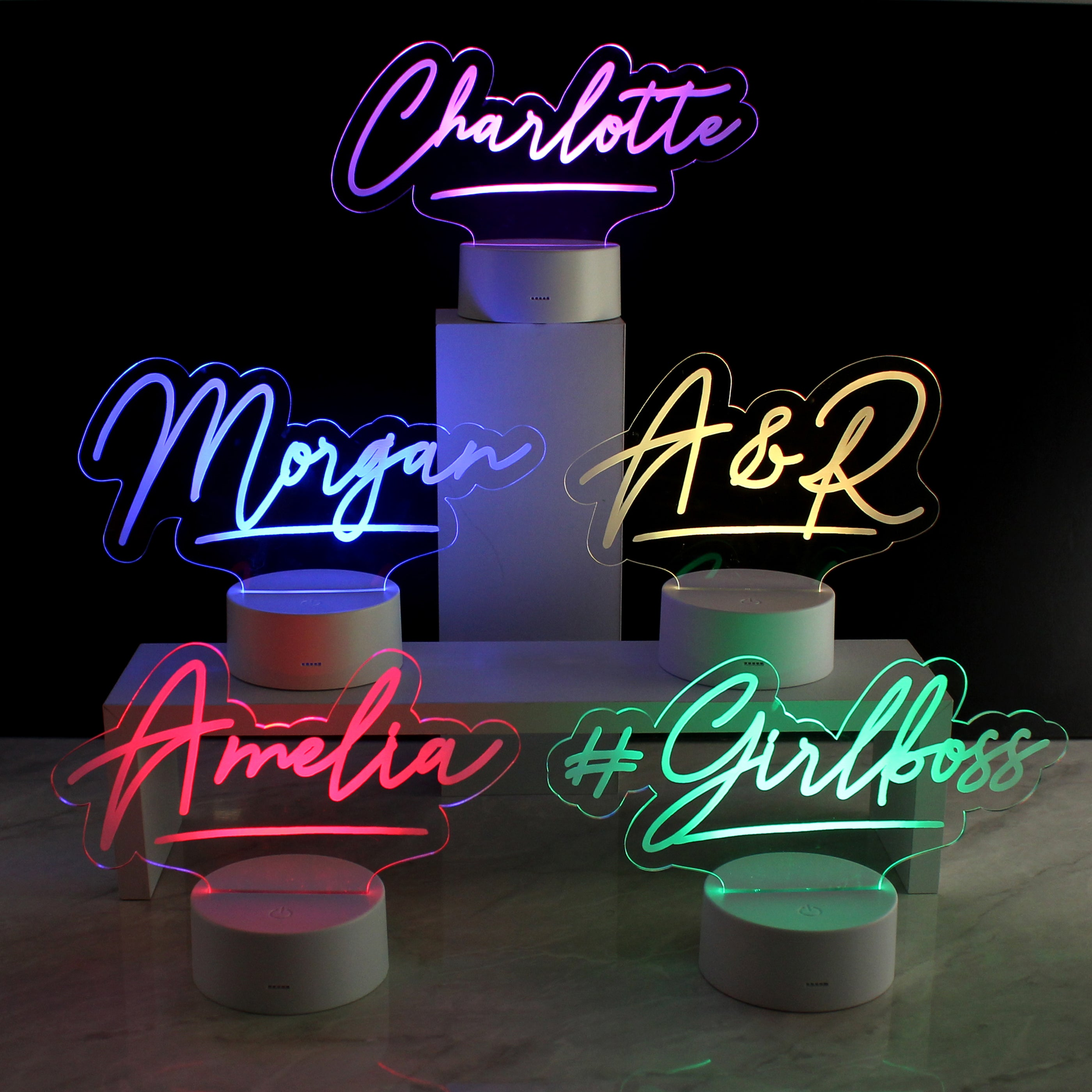 Personalised Name LED Colour Changing Desk Night Light, Lighting by Low Cost Gifts