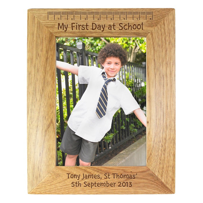 Personalised My First Day at School 5x7 Wooden Photo Frame