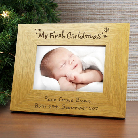 Buy Personalised My 1st Christmas 6x4 Wooden Photo Frame