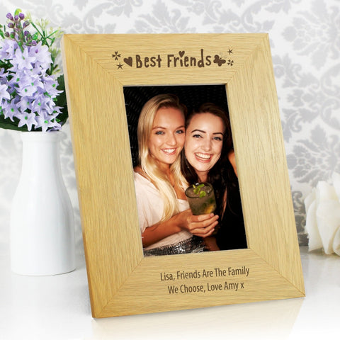 Buy Personalised Oak Finish 4x6 Best Friends Photo Frame
