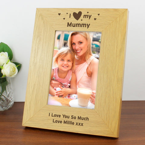 Personalised Oak Finish 4x6 I Heart My Photo Frame