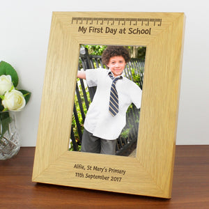 Personalised Oak Finish 4x6 My First Day At School Photo Frame