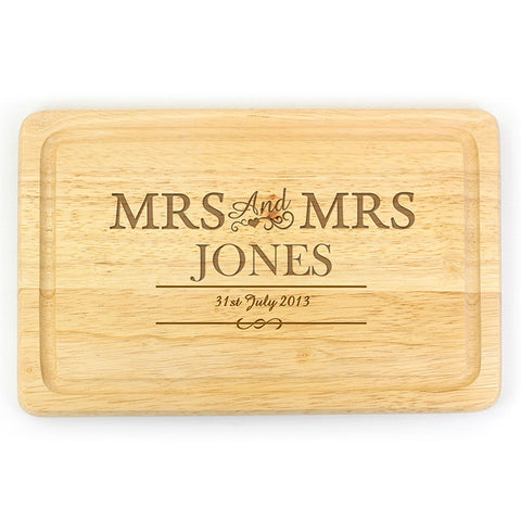 Personalised Mrs & Mrs Large Chopping Board - Shane Todd Gifts UK