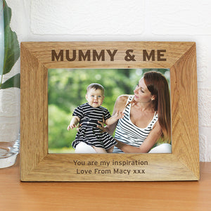 Personalised Mummy & Me 7x5 Wooden Photo Frame