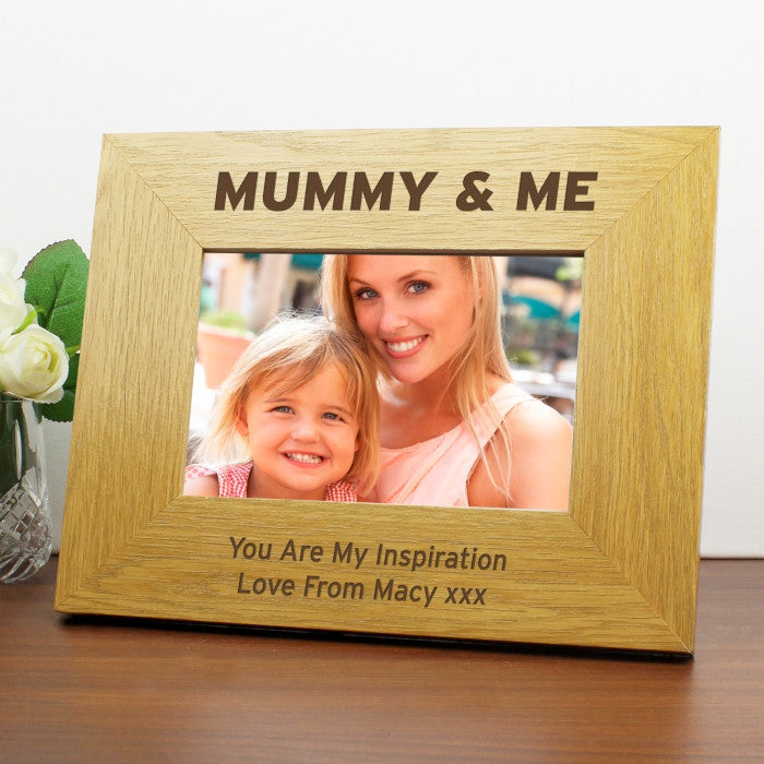 Personalised Oak Finish 6x4 Mummy & Me Photo Frame