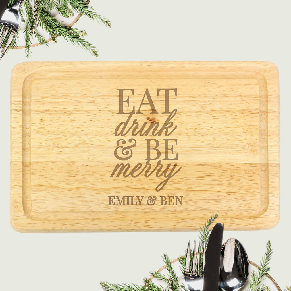Buy Personalised Eat Drink & Be Merry Round Chopping Board