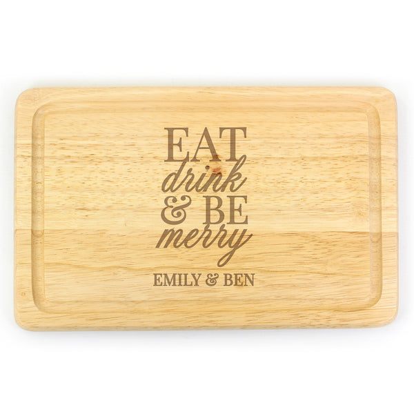 personalised-eat-drink-be-merry-round-chopping-board