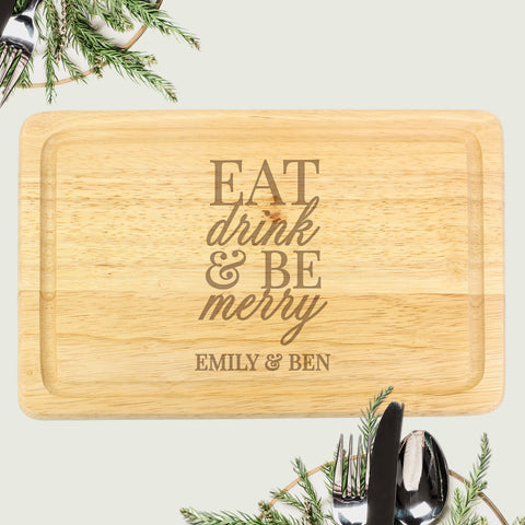 Personalised Eat Drink & Be Merry Round Chopping Board - Shane Todd Gifts UK