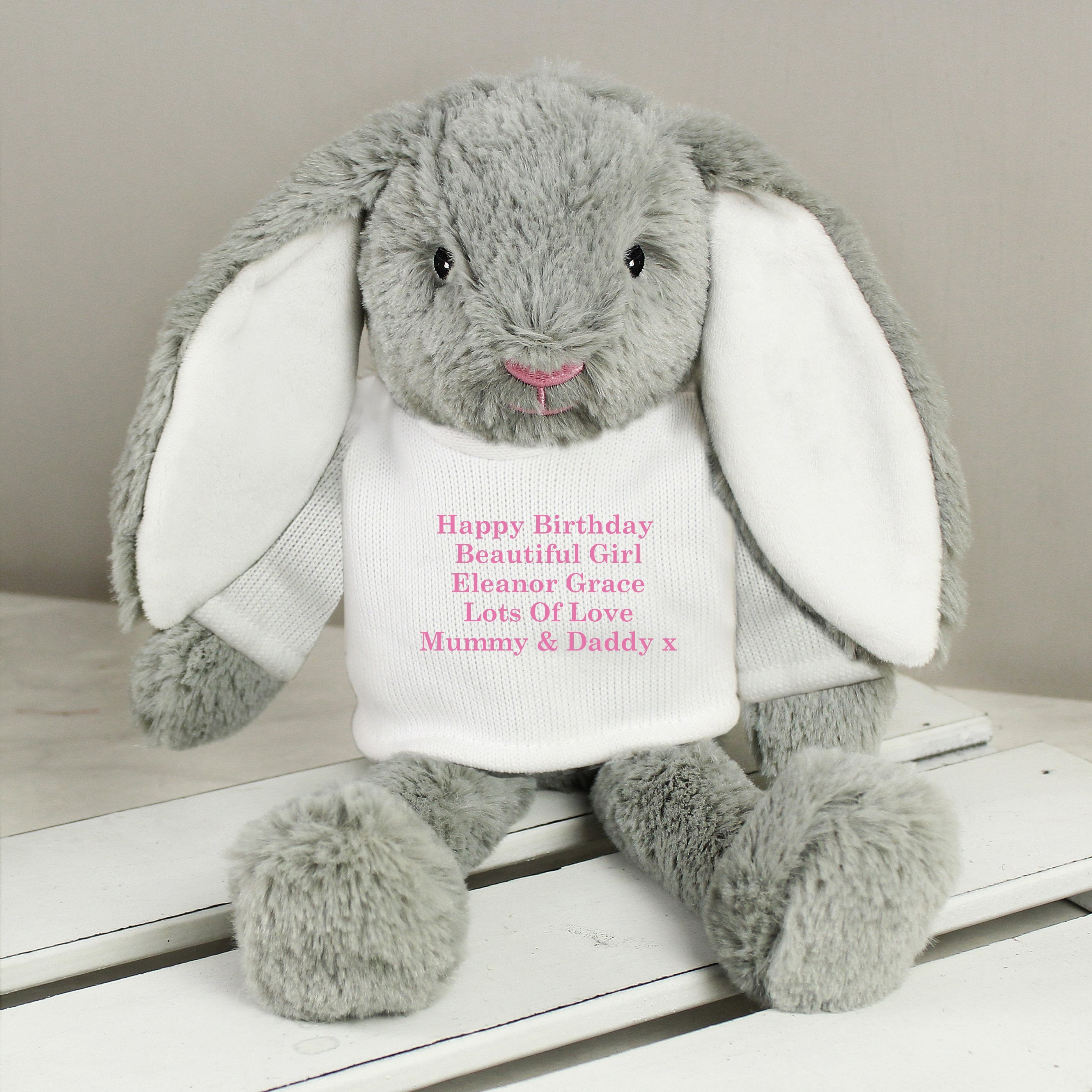 Personalised Pink Message Bunny, Toys & Games by Gifts24-7