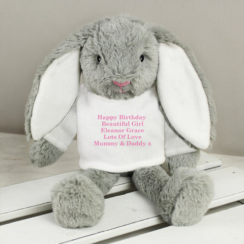 Personalised Pink Message Bunny