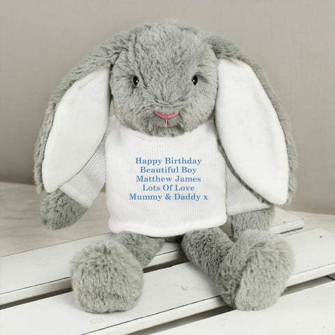Personalised Blue Message Bunny