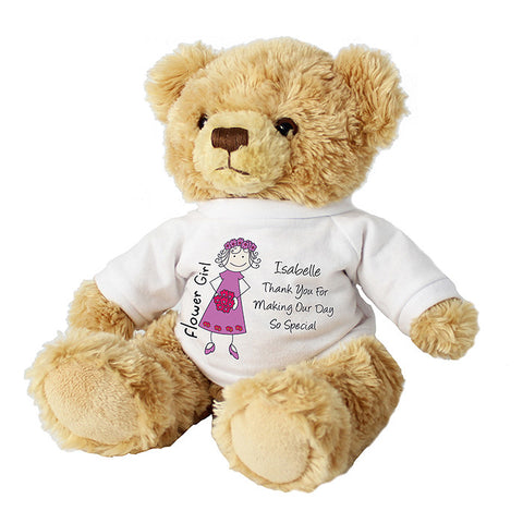 Personalised Cartoon Flower Girl Message Bear | ShaneToddGifts.co.uk