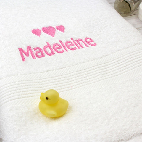 Personalised Pink Hearts White Bath Towel - Shane Todd Gifts UK