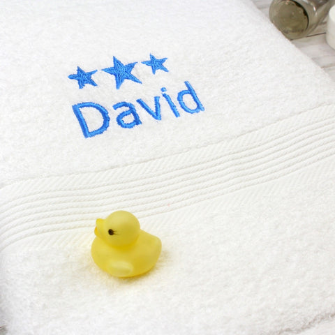 Personalised Blue Stars White Bath Towel - Shane Todd Gifts UK