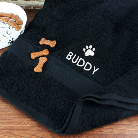 Personalised Pet Paw Black Bath Towel - Shane Todd Gifts UK