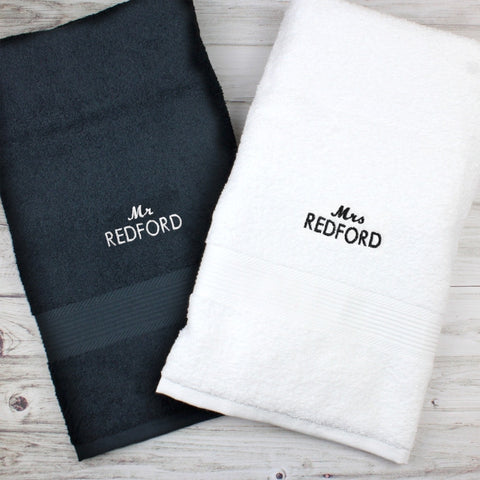 Personalised Mr & Mrs Black and White Bath Towel Set - Shane Todd Gifts UK