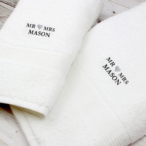 Buy Personalised Mr & Mrs White Hand and Bath Towel Set