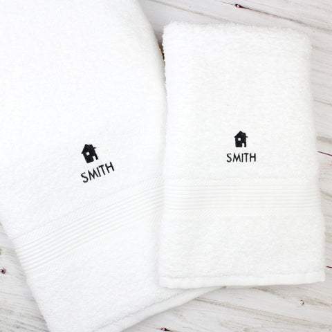 Personalised Home White Hand and Bath Towel Set - Shane Todd Gifts UK
