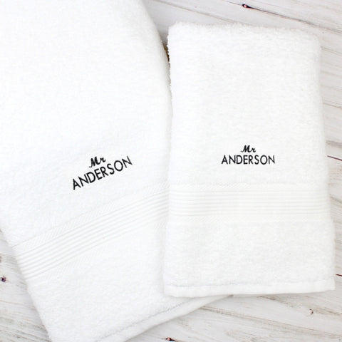 Personalised 'Mr' White Hand and Bath Towel Set - Shane Todd Gifts UK