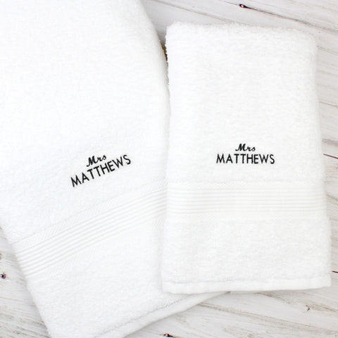 Personalised 'Mrs' White Hand and Bath Towel Set - Shane Todd Gifts UK