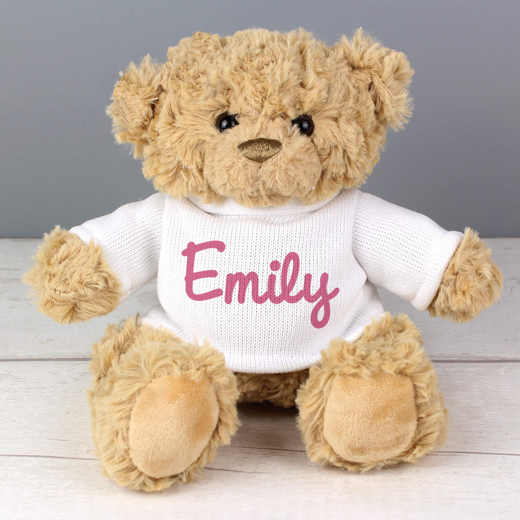 Buy Personalised Pink Name Only Teddy Bear