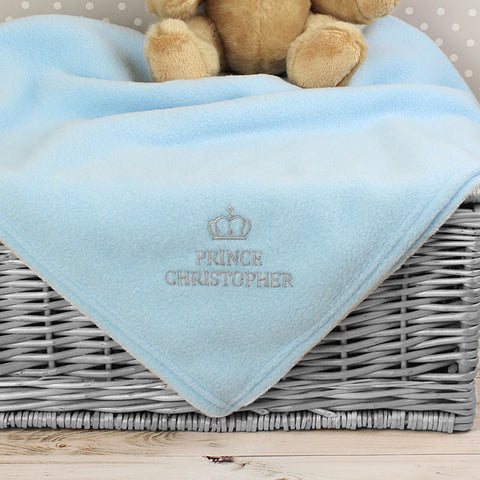 Buy Personalised Blue Prince Baby Blanket