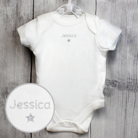 Personalised Silver Star 12-18 Months Long Sleeved Baby Vest | ShaneToddGifts.co.uk