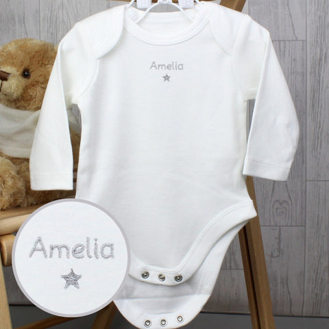 Personalised Silver Star 6-9 Months Long Sleeved Baby Vest | ShaneToddGifts.co.uk