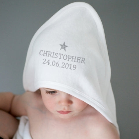 Buy Personalised Silver Star White Hooded Baby Towel