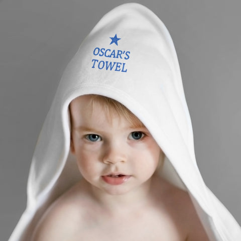 Buy Personalised Blue Star White Hooded Baby Towel