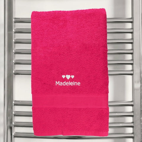 Personalised Hearts Bright Pink Bath Towel