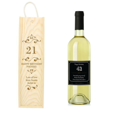 Personalised Wine &  Bottle Presentation Gift Set