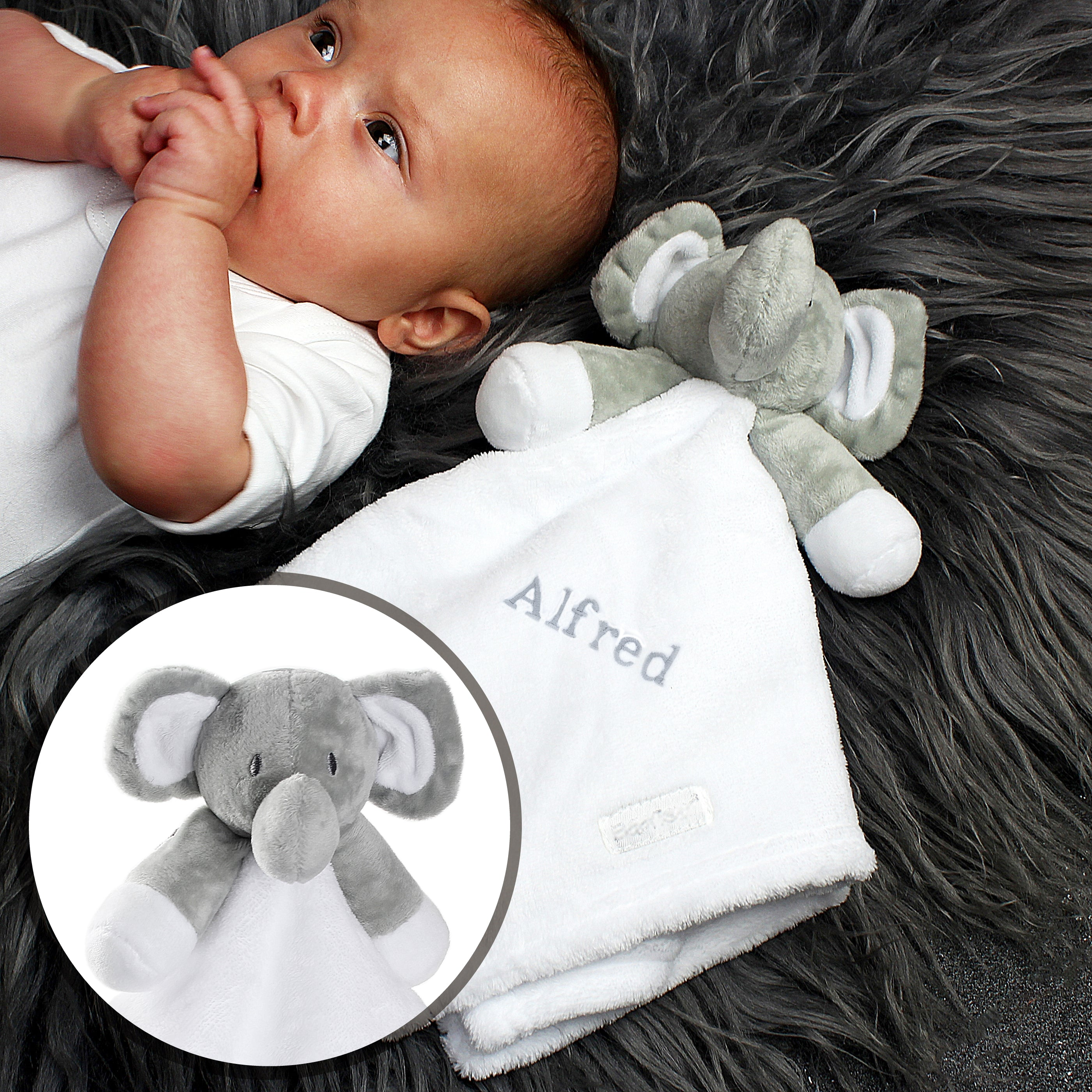 Personalised Plush Grey Elephant and White Comforter for Baby, Gift Giving by Low Cost Gifts