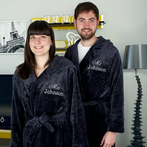 Personalised Mr & Mrs Luxury Hooded Robes