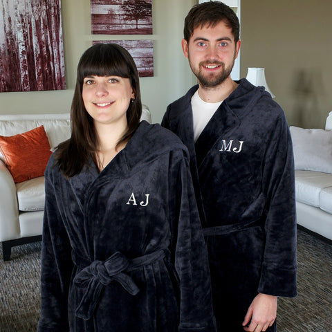 Personalised Initials Unisex Luxury Hooded Robe