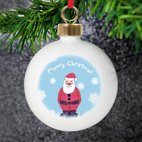 Personalised Snow Scene Santa Bauble | ShaneToddGifts.co.uk