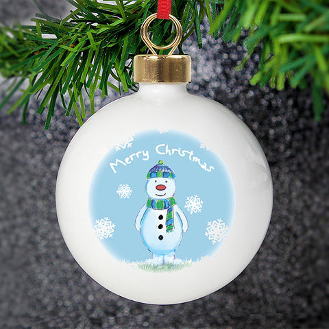 Personalised Snow Scene Snowman Bauble | ShaneToddGifts.co.uk
