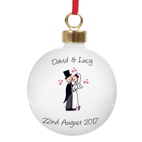 Personalised Cartoon Couple Keepsake Bauble | ShaneToddGifts.co.uk