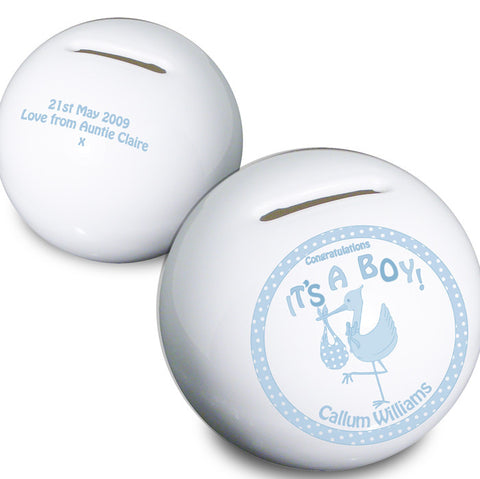 Buy Personalised Stork Its a Boy Money Box