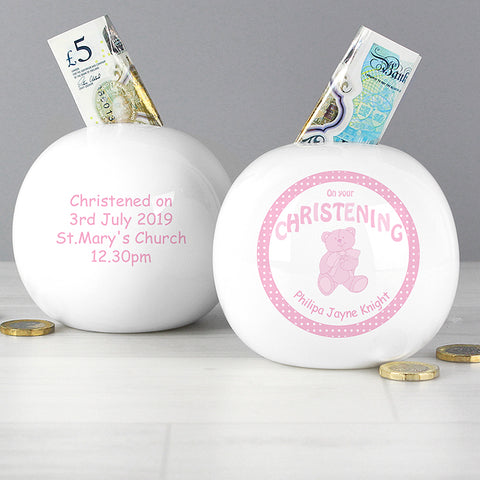 Buy Personalised Teddy Pink Christening  Money Box