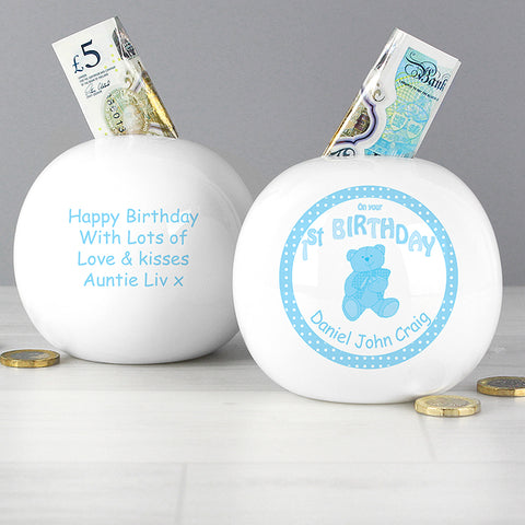 Personalised Teddy Blue 1st Birthday Money Box