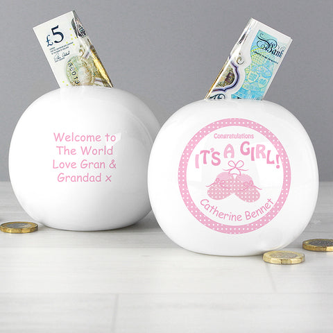 Buy Personalised Bootee Its a Girl Money Box