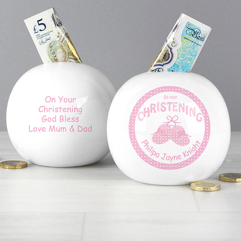 Buy Personalised Bootee Pink Christening Money Box